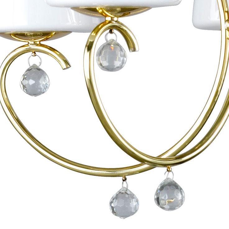 Chandelier brass glass crystals hanging lamp pendant lamp living room  Fischer  Leuchten 10045 – Bild 4
