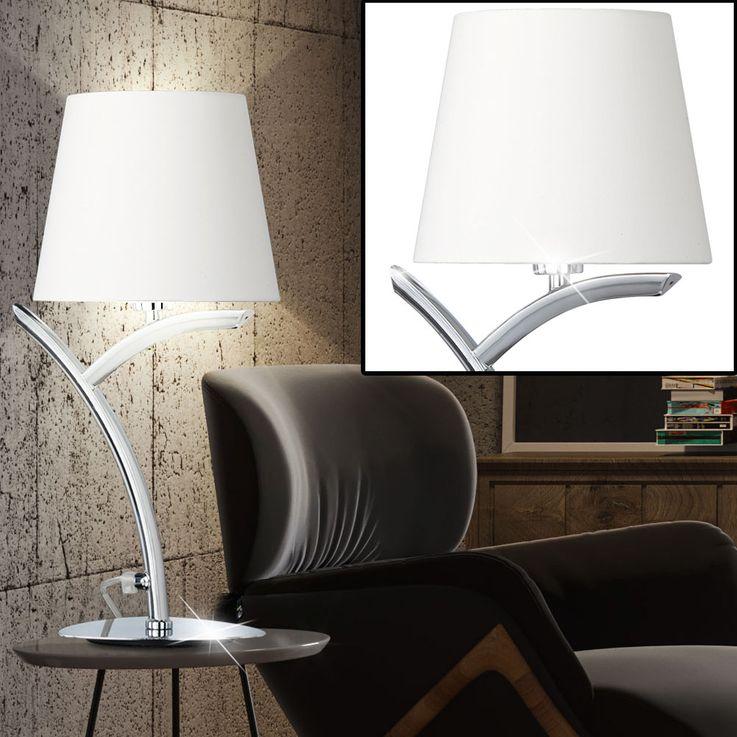 Lampe de table salon chambre à coucher textile nuit lumière blanche arc luminaire chrome  Fischer  Leuchten 53731 – Bild 3