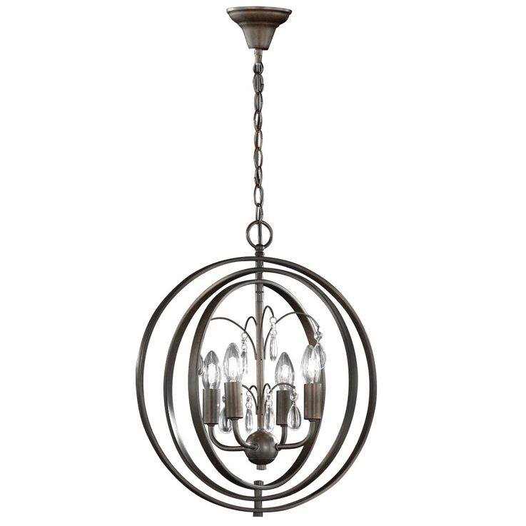 Hanging lamp rusty crystal living room ceiling chandelier rings adjustable  Fischer  Leuchten 69503 – Bild 1