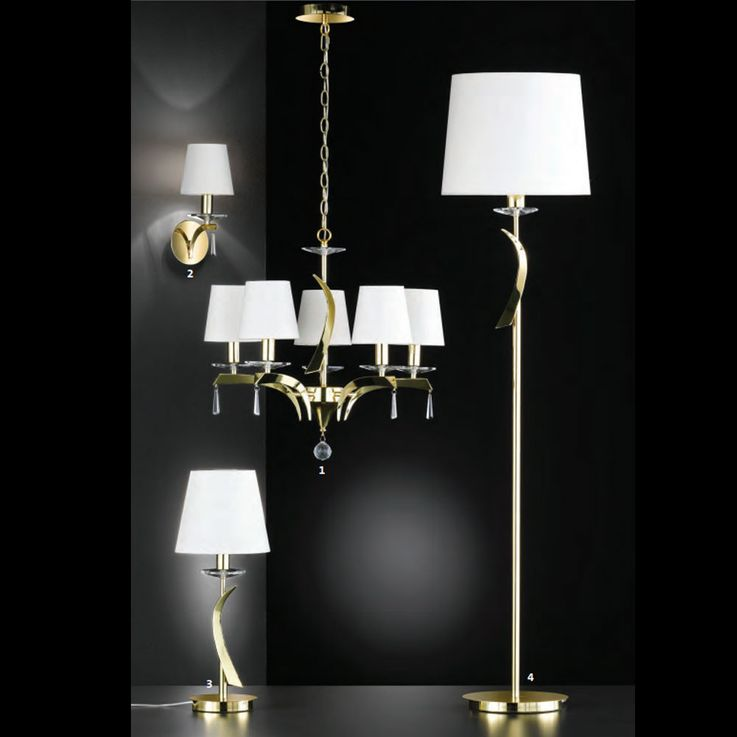Crystal chandelier living room brass ceiling hanging lamp textile white  Fischer  Leuchten 19640 – Bild 5