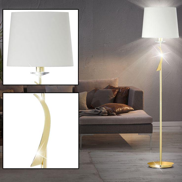 Luxus Textil Decken Fluter Wohn Zimmer Beleuchtung Messing Steh Lampe Fischer Leuchten 41400 – Bild 4
