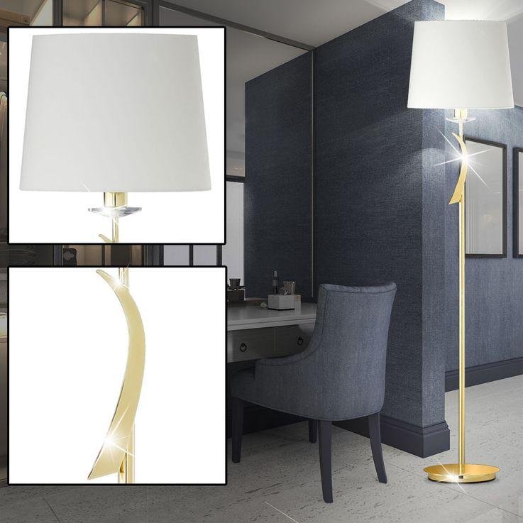 Luxus Textil Decken Fluter Wohn Zimmer Beleuchtung Messing Steh Lampe Fischer Leuchten 41400 – Bild 2