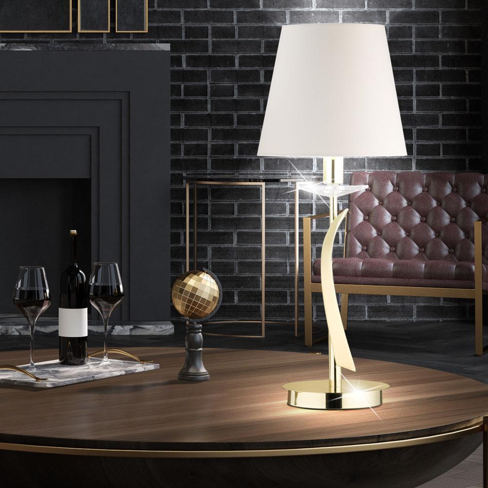 messing tischlampe mit textilschirm in wei h he 56 cm adana lampen m bel innenleuchten. Black Bedroom Furniture Sets. Home Design Ideas