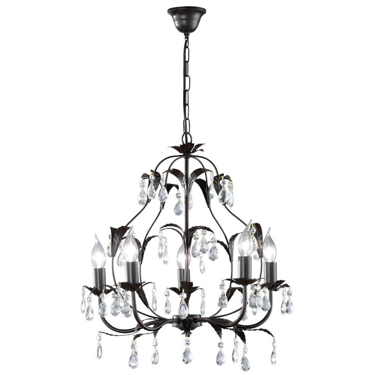 Crystal lantern chandelier leaves ceiling pendulum lamp rust-colored hanging light  Honsel  Leuchten 19600 – Bild 1