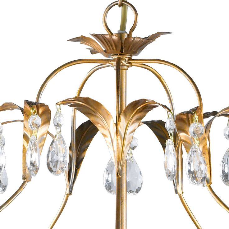 Crystal chandelier gold living dining room ceiling hanging lamp leaves design  Honsel  Leuchten 19601 – Bild 4