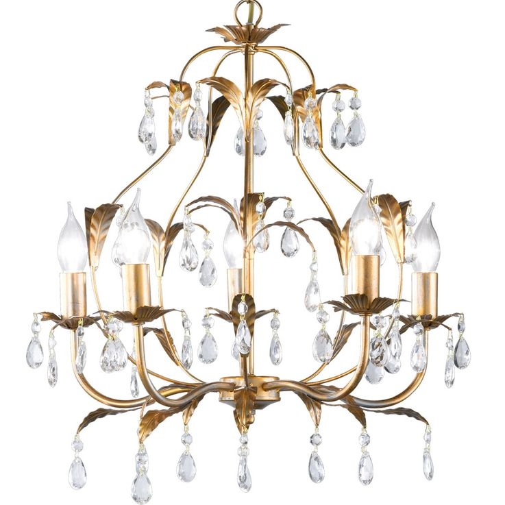 Crystal chandelier gold living dining room ceiling hanging lamp leaves design  Honsel  Leuchten 19601 – Bild 6