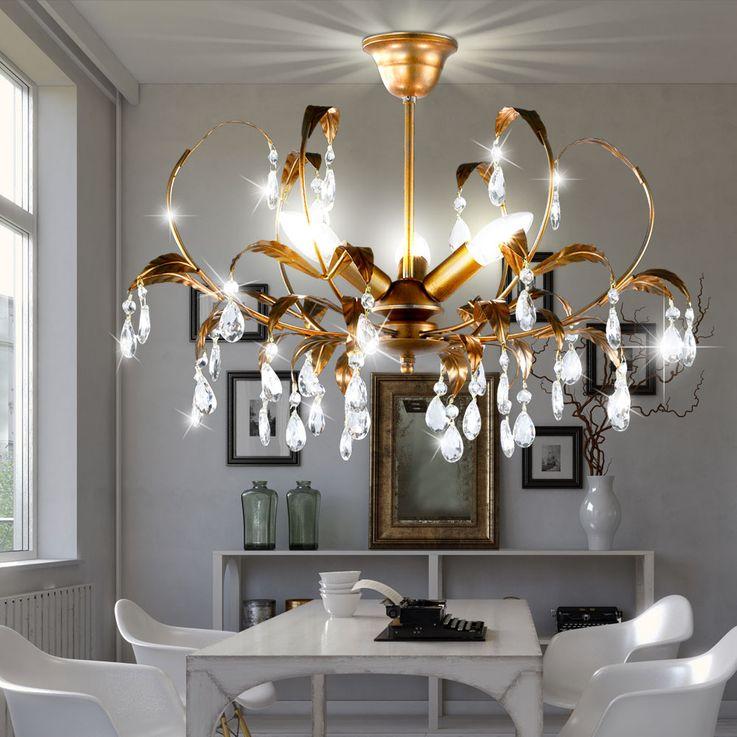 Feuilles design plafonnier lampe verre cristal draperie or lampe E14  Honsel  Leuchten 24181 – Bild 3