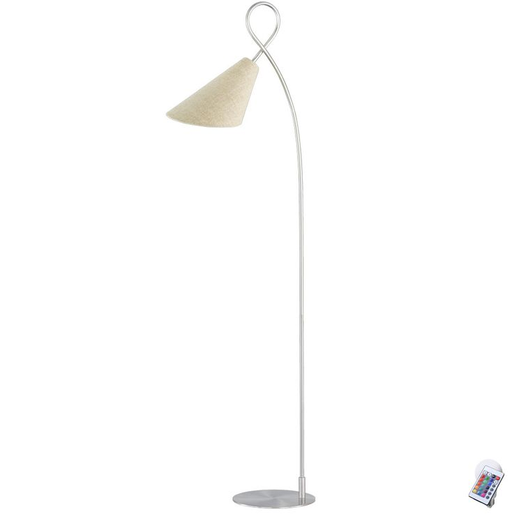 RGB LED floor lamp with linen structure lampshade SAGA – Bild 1