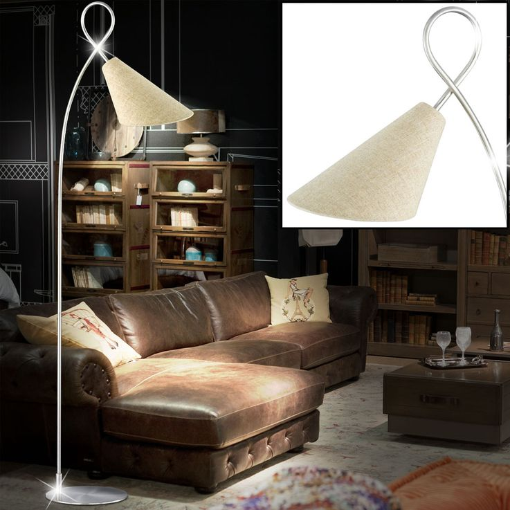 RGB LED floor lamp with linen structure lampshade SAGA – Bild 4