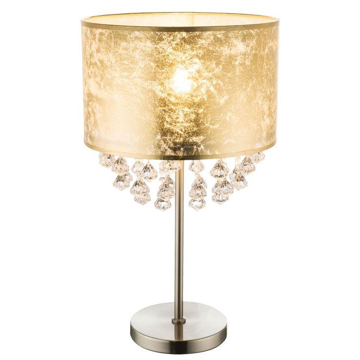 Lampe de Table en Cristal Salon Salle de Sommeil Tissu Lumière de Nuit Feuille Or Design Lampe  Globo 15187T3 – Bild 1
