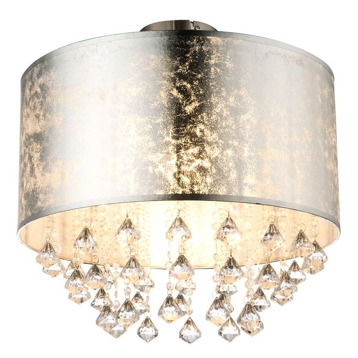 Ceiling lamp lighting lamp fabric silver leaf crystal drapery  Globo 15188D3 – Bild 1