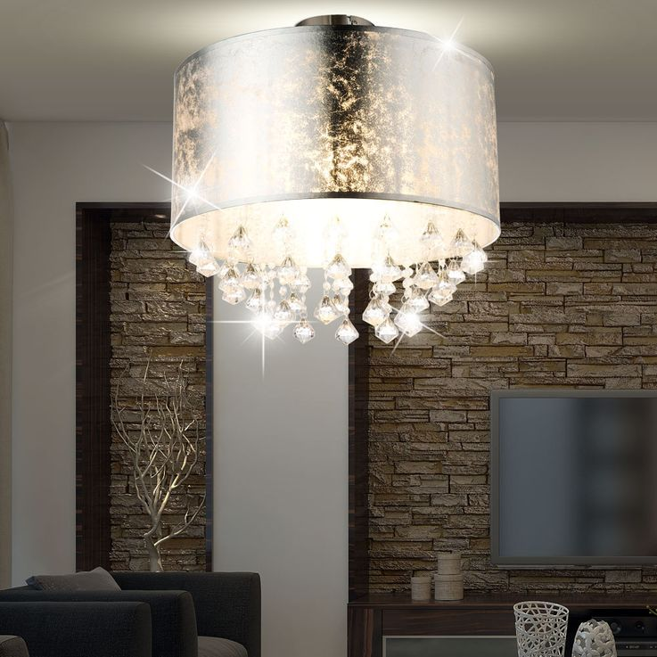 Ceiling lamp lighting lamp fabric silver leaf crystal drapery  Globo 15188D3 – Bild 3