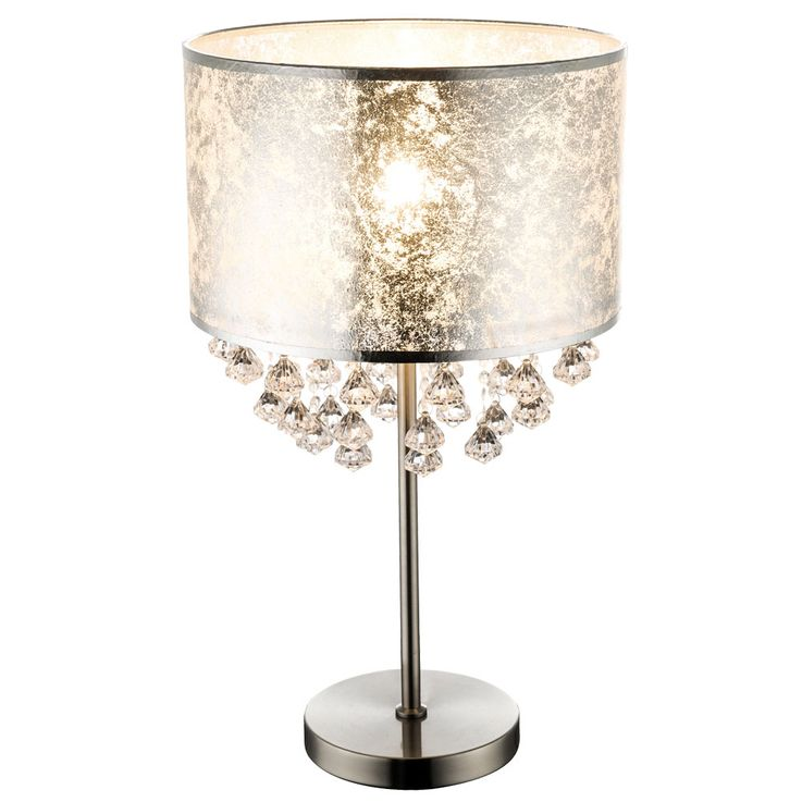 Table Lamp Stand Lamp Textile Silver leaf Lighting Stand Spotlight Crystals  Globo 15188T3 – Bild 1