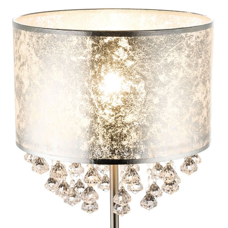 Table Lamp Stand Lamp Textile Silver leaf Lighting Stand Spotlight Crystals  Globo 15188T3 – Bild 6