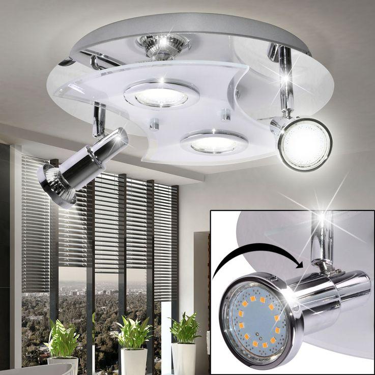 LED Decken Lampe Bad Glas Beleuchtung Feucht Raum Chrom Leuchte Spot verstellbar Briloner 2159-048LM – Bild 2