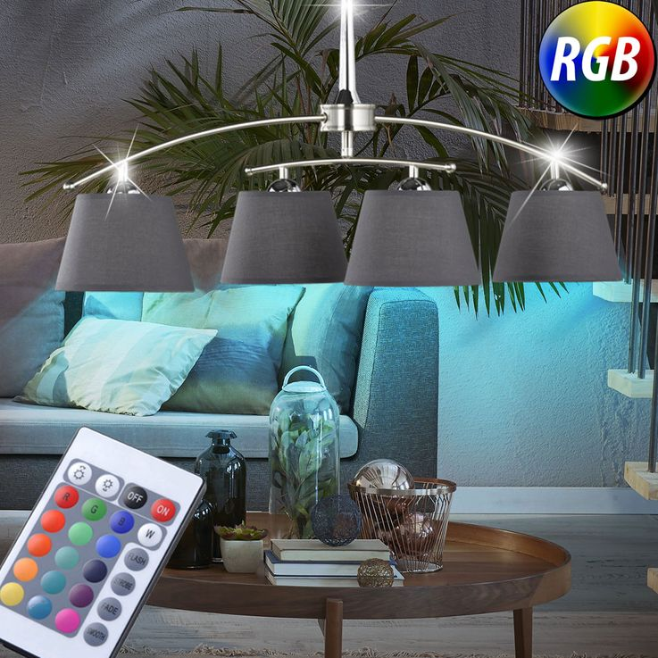 RGB LED hanging lamp in chrome 100 -140cm Prestige Schirm – Bild 2