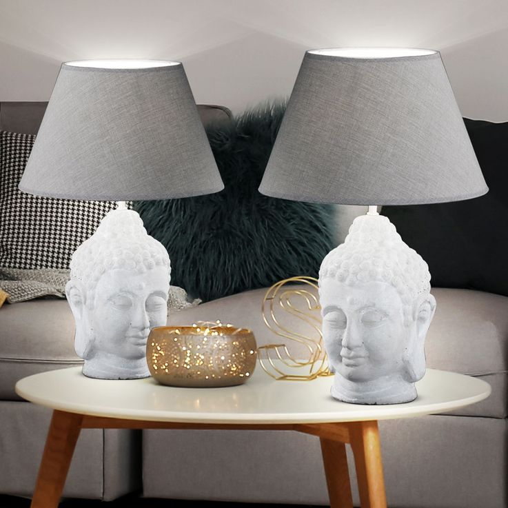 RGB LED textile ceramic table lamp in gray + head BUDDHA – Bild 3