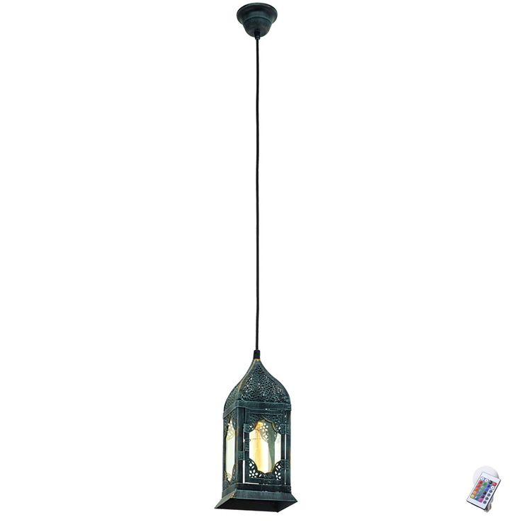 RGB LED hanging lantern in patina green VINTAGE – Bild 1