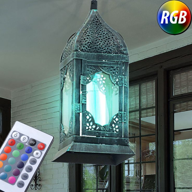 RGB LED hanging lantern in patina green VINTAGE – Bild 2