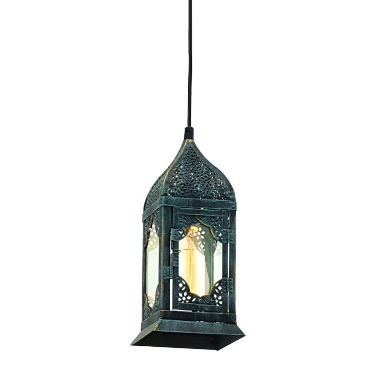 RGB LED hanging lantern in patina green VINTAGE – Bild 5