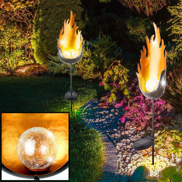 LED Solar Außen Steck Leuchte Garten Dekoration Erdspieß Glas Kugel Lampe Flamme Globo 33472 – Bild 3