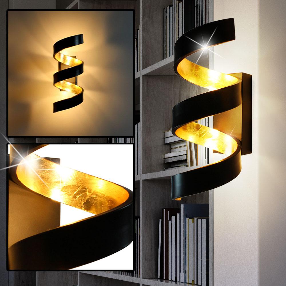 led wand lampe gold arbeits zimmer beleuchtung dimmbar spiral leuchte schwarz ebay. Black Bedroom Furniture Sets. Home Design Ideas