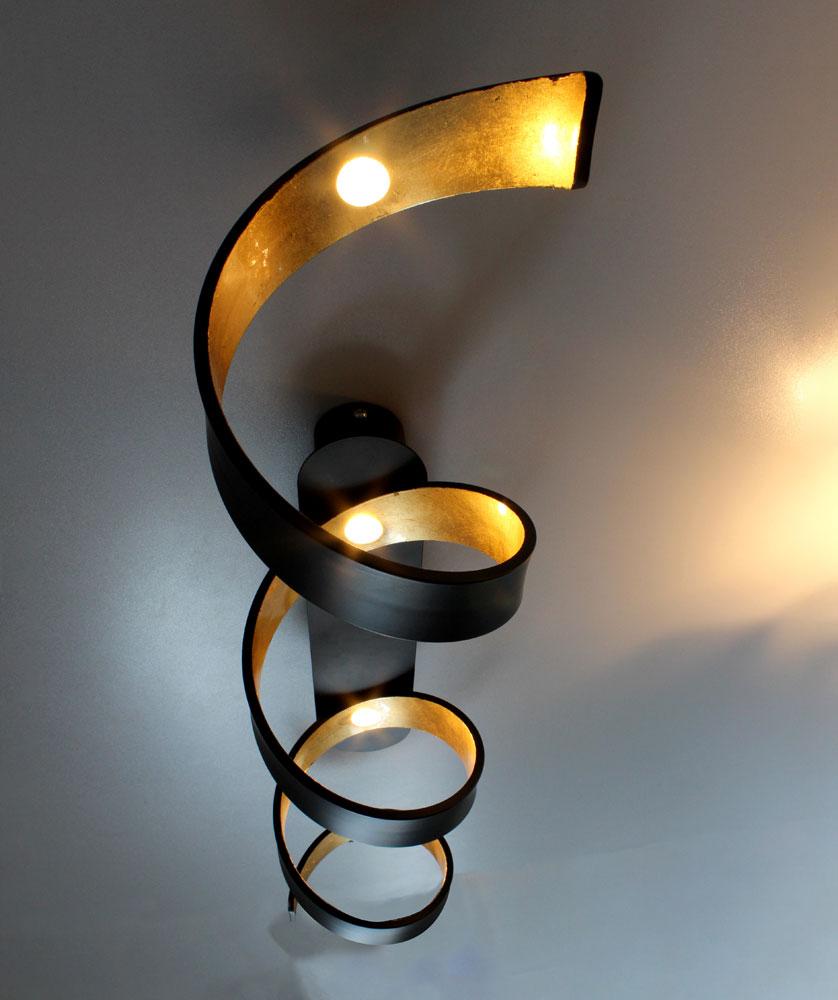 cob led deckenleuchte 3 stufen dimmer schwarz gold helix lampen m bel innenleuchten. Black Bedroom Furniture Sets. Home Design Ideas