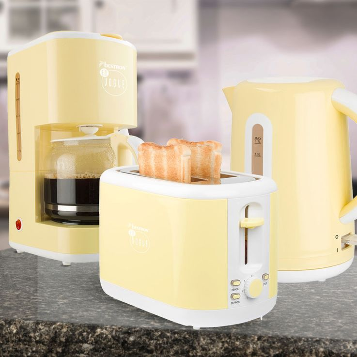 3pcs Breakfast Set Filter Coffee Machine Automatic Kettle Wireless 2-Slices Toaster Vanilla – Bild 2