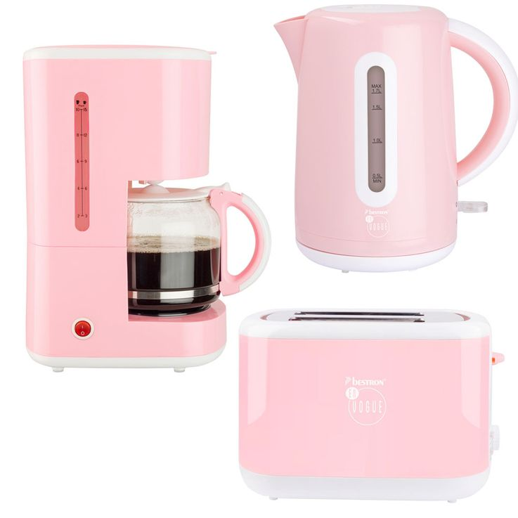 3pcs Breakfast Set Filter Coffee Automat Machine Kettle Wireless 2-Slices Toaster Pink – Bild 1