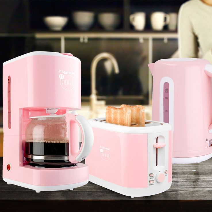3pcs Breakfast Set Filter Coffee Automat Machine Kettle Wireless 2-Slices Toaster Pink – Bild 2