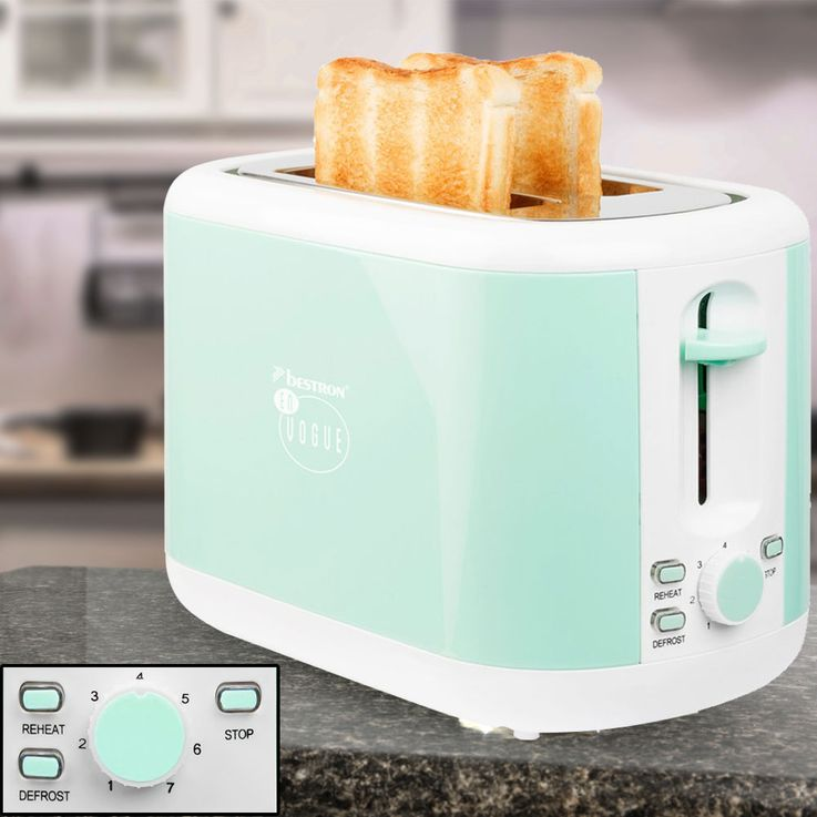 Set of 2 breakfast sets 2  slices toaster bread roll attachment 1.7L water cooker heater cordless mint green – Bild 4