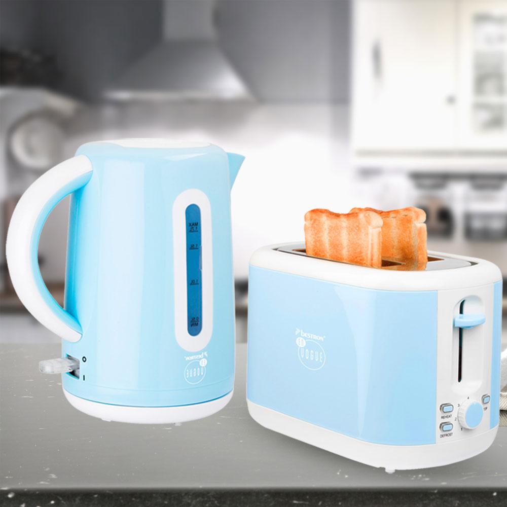 Edelstahl Wasserkocher und Toaster-Set Hellblau