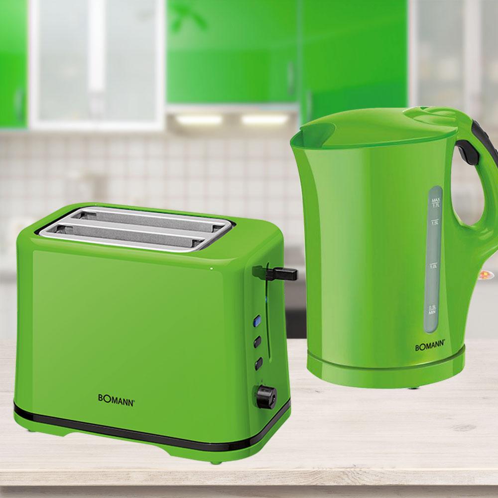 toaster und wasserkocher in gr n k che haushalt k chenger te sets. Black Bedroom Furniture Sets. Home Design Ideas