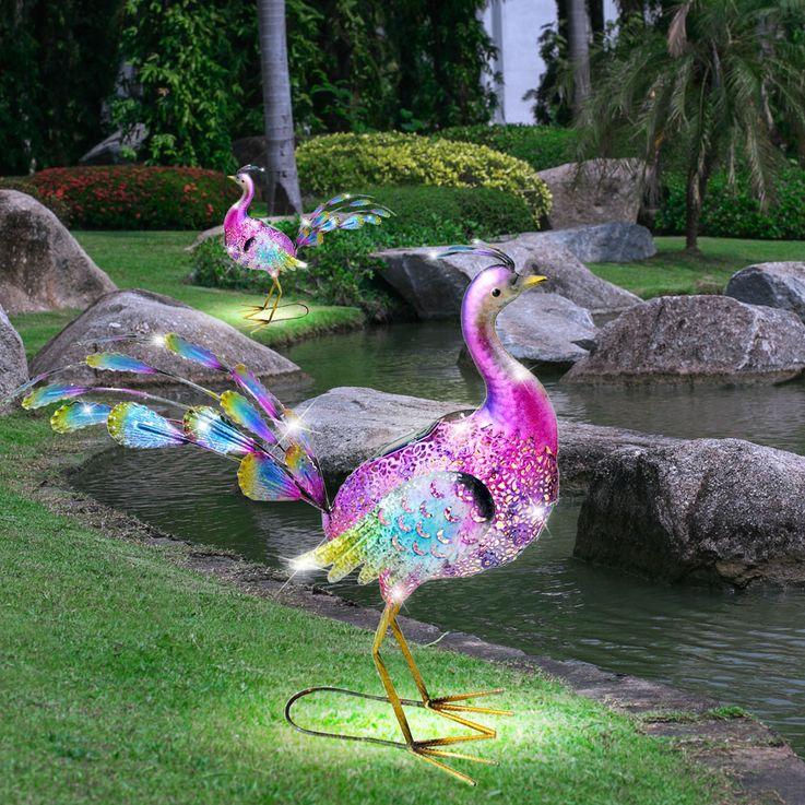 LED Solar Deko Leuchte Pfau Design Garten Weg Beleuchtung Tier Lampe bunt HARMS 504885 – Bild 3
