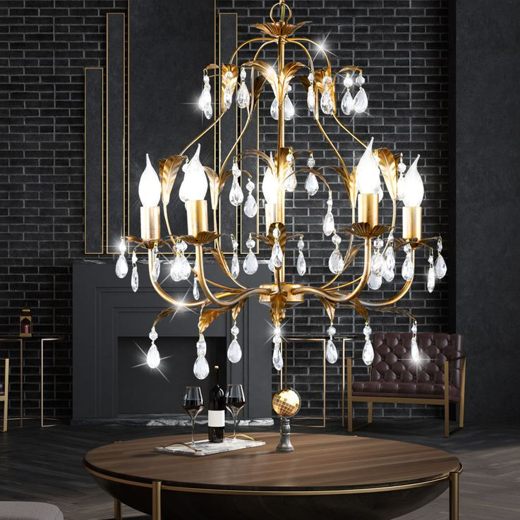 RGB LED chandelier in gold with glass crystals MONZA – Bild 3
