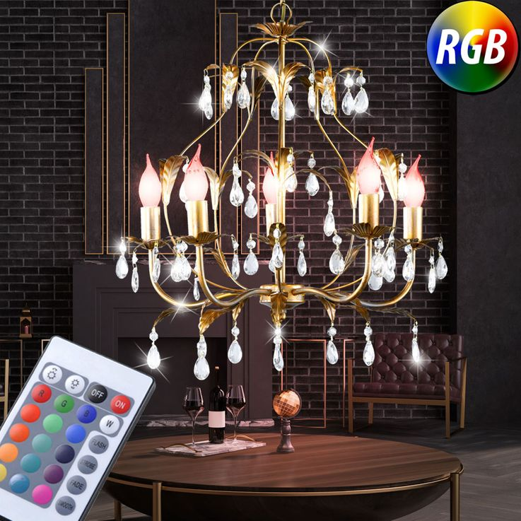 RGB LED chandelier in gold with glass crystals MONZA – Bild 2