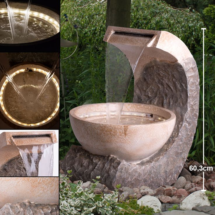 Indoor Outdoor Fountain Garden Decoration LED Living Room Stand Stand Water Game Brown Beige  Globo 93018 – Bild 2