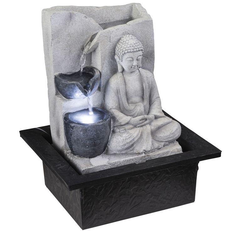 LED Tisch Spring Brunnen Buddha Design Wasser Spiel Wohn Zimmer Dekoration grau Globo 93019 – Bild 3