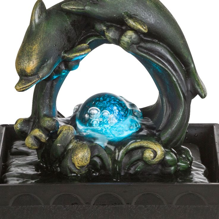 LED Room Table Fountain RGB Color Changing Water Game Decoration Dolphin Design  Globo 93027 – Bild 3