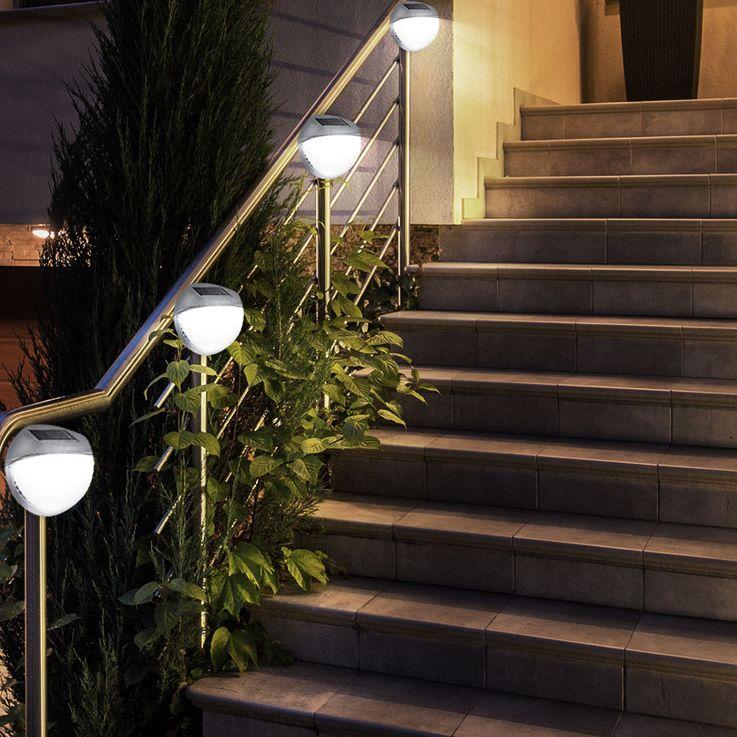 Set of 10 LED fence solar lights, diameter 11 cm – Bild 5
