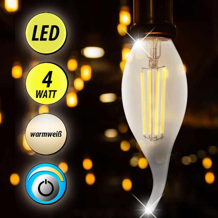 LED 4 Watt Bulb Candle Lamp 320 lumens warm white Lamp Lighting EEK A + E14 WOFI 9734 – Bild 2