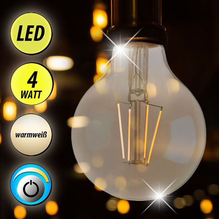 Retro LED 4 Watt Bulb E27 Ball Lamp Amber Glass 280 lm EEK A + DIMMABLE WOFI 9738 – Bild 2