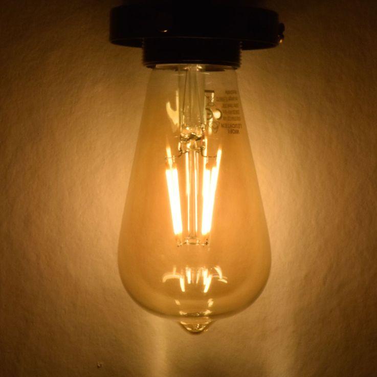 Vintage LED 4 Watt E27 Kugel Leuchtmittel Filament Amber 2500 K EEK A+ 280 lm DIMMBAR WOFI 9740 – Bild 3