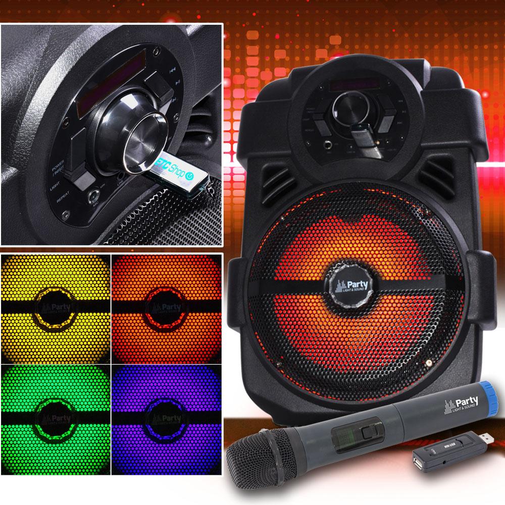 250W Mobile LED Musikanlage mit 32 GB USB-Stick/BT und Mikro – Bild 2