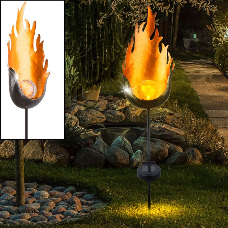 3er Set LED Solarlampen im Flammen Design, Höhe 93,5 cm – Bild 3