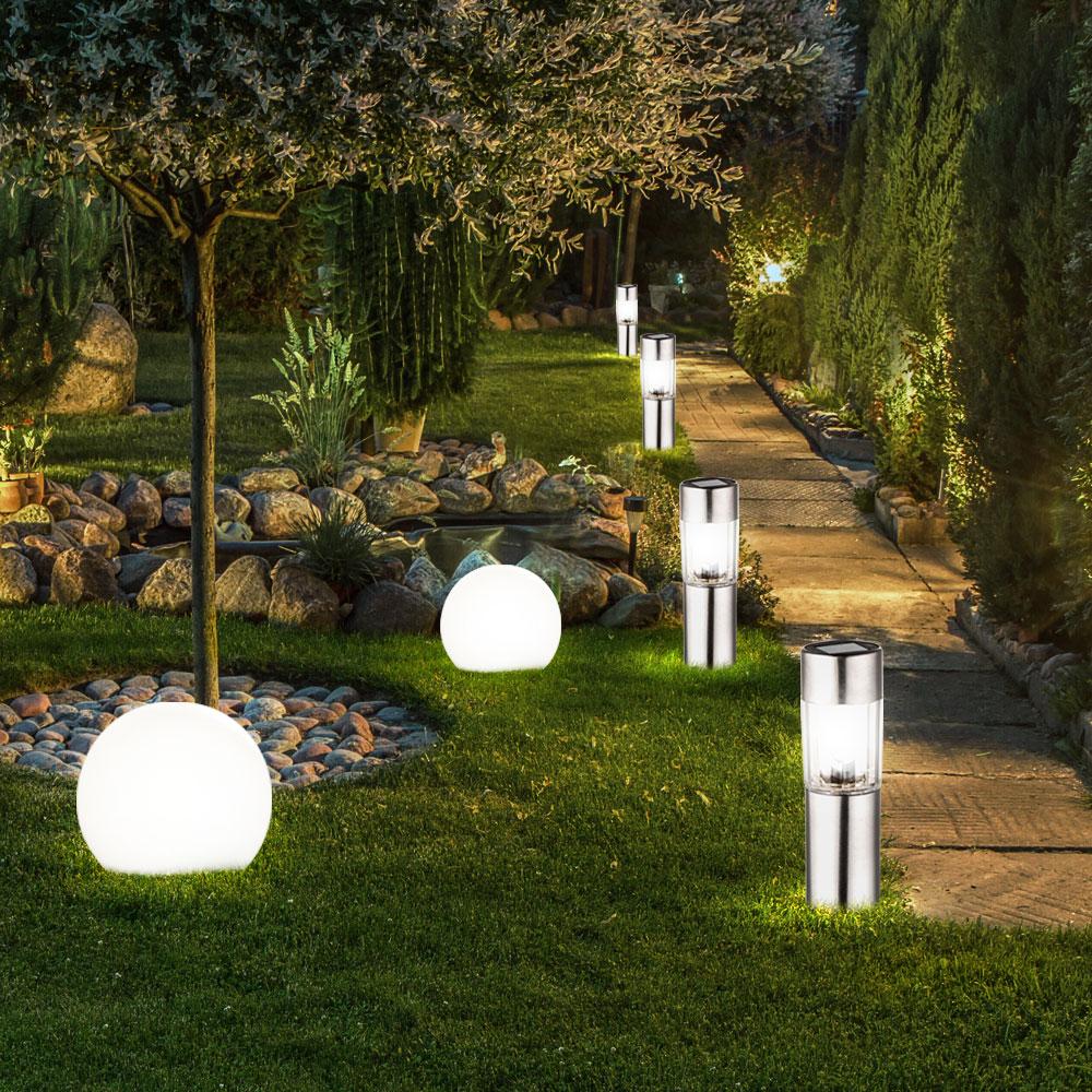 6 x led solar edelstahl steck leuchte garten kugel lampe au en haus beleuchtung ebay. Black Bedroom Furniture Sets. Home Design Ideas