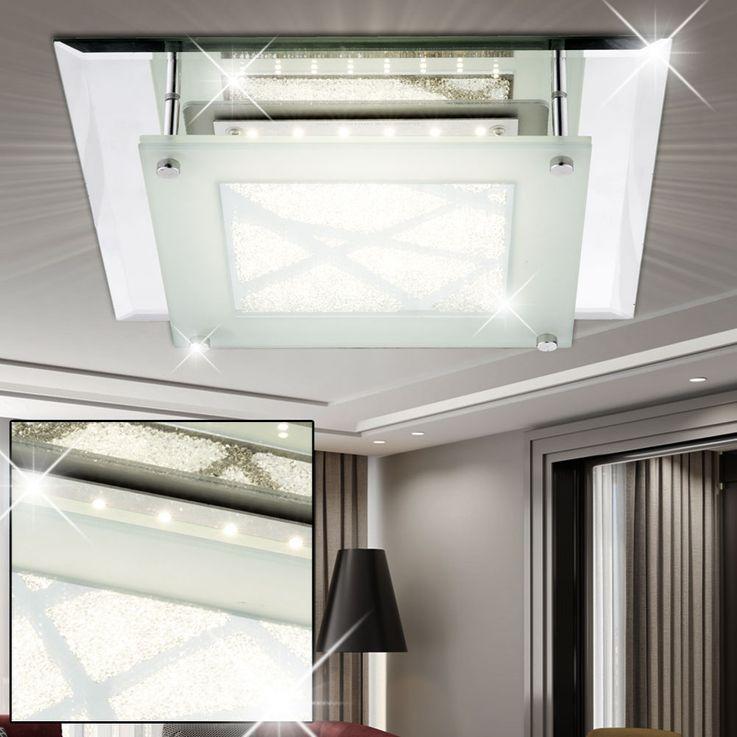 Luxe LED plafonnier verre cristal spot chrome salle à manger lampe satinée Globo 49324-12 – Bild 2