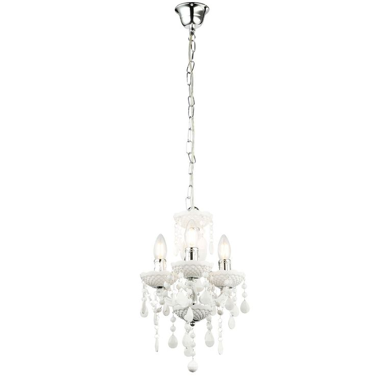 Pendulum chandelier ceiling lamp living room lighting crystal hanging lamp white  Globo 63113-3 – Bild 1