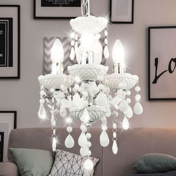 Pendulum chandelier ceiling lamp living room lighting crystal hanging lamp white  Globo 63113-3 – Bild 3