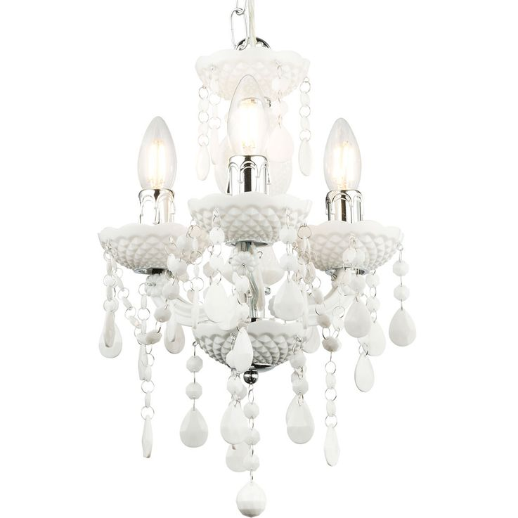 Pendulum chandelier ceiling lamp living room lighting crystal hanging lamp white  Globo 63113-3 – Bild 4